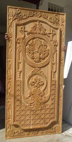 33 Inspiring Carved Wood Doors Design Ideas - Custom wood doors, whether elegant or rustic, are a durable choice that can really set off the style of your home. With the latest custom exterior doo. Wooden Front Door Design, Double Door Design, Door Gate Design, Wooden Front Doors, Wood Design, Single Main Door Designs, Custom Exterior Doors, Custom Wood Doors, Pooja Room Door Design