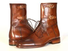 PAUL PARKMAN ® The Art of Handcrafted Men's Footwear - Paul Parkman Men's High Boots Brown Calfskin (ID#F554-BRW)