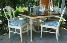 Wonderful Painted Duncan Phyfe table and chairs. www.niagarafurniturepainting.com