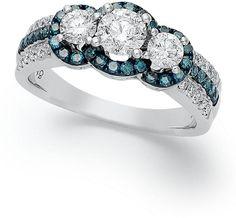 14k White Gold Ring, Treated Blue Diamond (3/8 ct. t.w.) and White Diamond (1-1/8 ct. t.w.) 3-Stone Ring on shopstyle.com.au