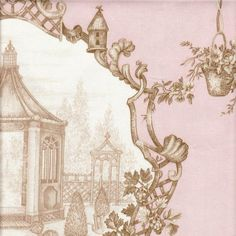 Old Rose Garden Toile Fabric by the Yard from PoshTots
