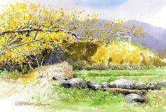 "Korean Watercolor Painter ""Shin Jong Sik"" - Fine Art and You - Painting Watercolor Books, Watercolor Pictures, Watercolor Sketch, Watercolor Landscape, Watercolor Flowers, Landscape Paintings, Watercolor Paintings, Floral Paintings, Colorful Paintings"