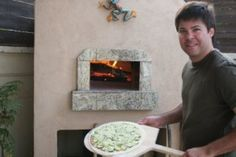 Wood fired oven pizza. Zucchini wood fired pizza made with mozzarela, thinly sliced zucchini and parmesan cheese.