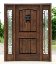 Popular Exterior Rustic Doors with 2 Sidelights & Rustic Knotty Alder entry doors with Sidelights clearance priced ...