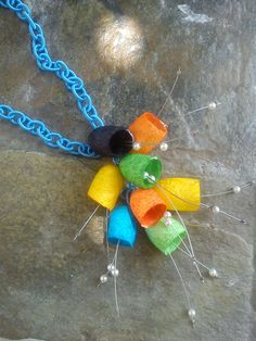 handmade silk cocoons necklace No76