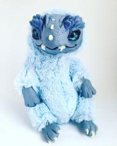 FANTASY PLUSH ANIMAL Frozen Dragon Ooak Fantasy by FoxyMocksy