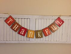 Fall Thankful Banner Sign Bunting Garland Autumn by EncoreBanners