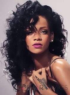 Rihanna Layered Loose Kinky Curly Messy Long Synthetic Hair With Casual Bangs Capless Cap Women Wigs 18 Inches - October 05 2019 at Looks Rihanna, Rihanna Riri, Rihanna Hairstyles, Wig Hairstyles, Rihanna Curly Hair, Afro Hair, Trendy Hairstyles, Black Hair Wigs, Jenifer Lawrence