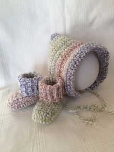 Crochet Baby Set Baby Bonnet and Booties Crochet Set by ACozyPlace