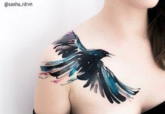 Sasha Marsh watercolor raven tattoo