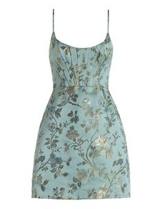 Bowerbird Corset Dress, from our Spring 17 collection, in Sage Floral jacquard. Mini dress with boned bodice, A line skirt, and invisible zip closure at centre back. Fully lined. Short A Line Dress, Short Green Dress, Beautiful Dresses, Nice Dresses, Short Dresses, Floral Dresses, Corset Dresses, Flapper Dresses, Stylish Dresses