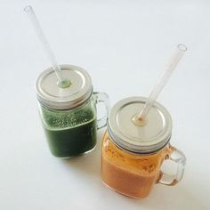 Green & orange Juices #drink all colors of the rainbow