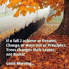 """Good Morning! """"If You Fail To Achieve Your Dreams, Change Your Ways Not Your Principles. Trees Changes Their Leaves, Not Roots."""""""