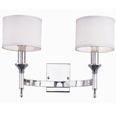 "Metrolume 2 Light Wall Sconce  $219 Shades of Light SKUY: SC13107 NB - Aged Brass Metrolume 2 Light Wall Sconce Half circle arm bracket and 2 torch candlelights give this wall sconce metropolitan chic style. Aged Brass or Polished Nickel with white drum shades (included). 2x40 watts. (13""Hx18""Wx11""D)  Product SKU: SC13107 NB Price:  $219.00  Quantity    ???"