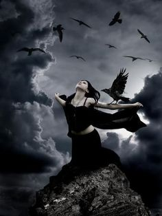The Morrigan is a Celtic goddess of war who hovered over the battlefield as a crow or raven. Description from pinterest.com. I searched for this on bing.com/images