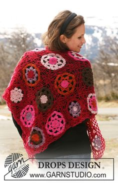 "Gorgeous! shawl incrochet squares. ~ DROPS Design (w/their ""Vivaldi"" yarn"