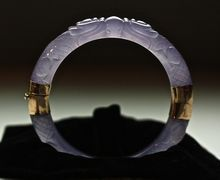Flawless Rare Antique Chinese Hand Carved Ice Lavender Jadeite 14K Double Dragon Bangle