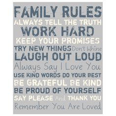 Family Rules Canvas Art in Grey