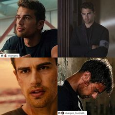 The first one looks sooo cute i wanna fall in love with him again Divergent Memes, Divergent Fandom, Divergent Trilogy, Divergent Insurgent Allegiant, Divergent Theo James, Tris And Tobias, Tris And Four, Theodore James, Veronica Roth