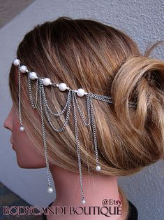 Head chain hair piece with pink pearl accent by bodycandiboutique