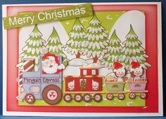 Penquin express on Craftsuprint designed by Ceredwyn Macrae - made by Cheryl French - Printed onto glossy photo paper. Attached base image to card stock using ds tape. Built up image with 1mm foam pads. Added frosted lace glitter glue to trees. - Now available for download!