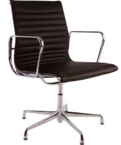 Ribbed Low Back Fixed Chair – Black