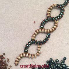 Best 12 Working a pattern bought at beadfest! Pattern is thanks to annaelizabethdraegerdesigns Beaded Necklace Patterns, Bracelet Patterns, Beaded Bracelets, Super Duo Beads, Motifs Perler, Twin Beads, Bracelet Tutorial, Beads Tutorial, Jewelry Making Tutorials
