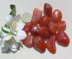 8 Large Carnelian Crystal Tumblestones by SunnyCrystals on Etsy, £3.50