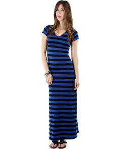 Rusty Spur Couture CS Royal Blue Stripe Rayon V-Neck Maxi Dress - RB4-D3427, ,