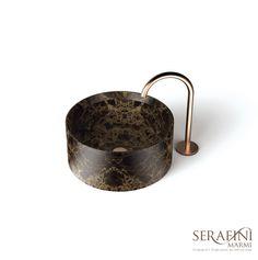 Marmi Serafini - Entity Circle small | small washbasin | emperador brown marble | #bathroom #design #marble | www.marmiserafini.it