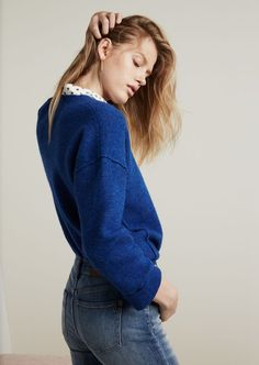 a4e3761c09 madewell connection sweater in heather cobalt worn with the silk courier  shirt in foulard dot