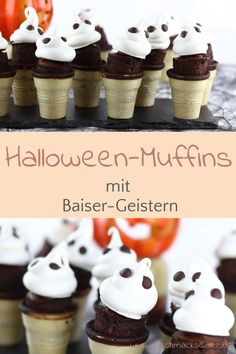 Halloween-Rezept - Gescheiterte Geister-Muffins im Waffelbecher - #halloween #halloweenrezept #halloweenmuffins #muffinsimwaffelbecher #geistermuffins #baisergeister