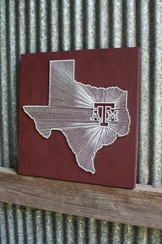 Aggie Pride // Reclaimed Wood Nail and String Tribute to Texas A University. via Etsy.