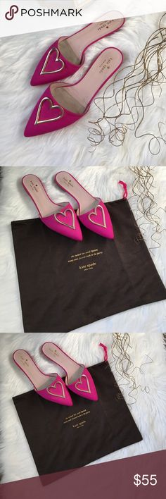 Kate Spade loafers Fuchsia pink slip on loafers with gold heart. Please review all pictures for wear and tear. It's a size 38 B but this shoe runs small it fits more like a 7.5 and in good condition. kate spade Shoes Flats & Loafers