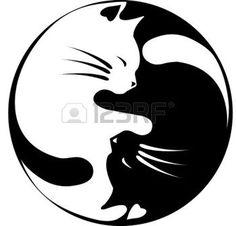 Gatos de Yin-Yang Vectores