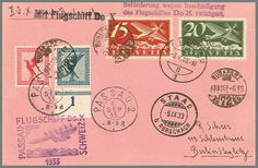 Switzerland Airship DO-X Passau-Switzerland from 5. 9. 1933, nice card with scarce mixed franking Germany / Switzerland. LH = 2000.-. Katalog-no. SF 33. 9 oh / D appraisal 300.- till 400.-  Lot condition   Dealer Rapp Auctions  Auction Starting Price: 300.00 SFr