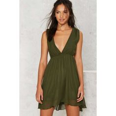 Hutton Plunging Cutout Dress (£57) ❤ liked on Polyvore featuring dresses, green, fit and flare cocktail dress, strappy dress, chiffon dresses, chiffon empire waist dress and green dress