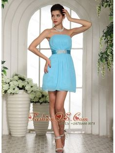 Baby Blue Ruched Decorate Bust and Belt 2013 Homecoming Dress Custom Made  http://www.fashionos.com  Show off your fun and playful side at your homecoming or prom in this super cute strapless party dress. The strapless neckline, gentle ruched bodice and short chiffon skirt. This blue short dress is charming but sparkling. The shinning beads accents the waist and forms an exquisite satin sash. And a flowing hemline give this fun dress a festive style that says you're ready to party.