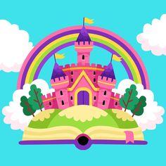 Kids Background, Princess Theme, Fairytale Castle, Easy Paper Crafts, Hogwarts Houses, Cute Doodles, Vector Freepik, Big Canvas, Doodle Drawings