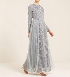 Erin Lace Tulle Prom Dress In Blue Smoke - $147.99 : Inayah, Islamic Clothing & Fashion, Abayas, Jilbabs, Hijabs, Jalabiyas & Hijab Pins