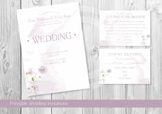 PURPLE SPRING FLOWERS Wedding Invitation Printable / Custom Design Printables / Wedding invitation by OstrichSistersDigits on Etsy