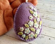 Easter gift, Floral Easter Egg, Lilac Felt Egg, Easter Decor, Easter Home Decor, Nonedible Easter Gifts, Felt Flower Egg, Easter Ornament
