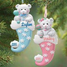 Personalized Bear In Santa Hat Ornament