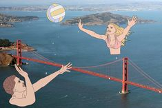 Julia Borzucka is a Polish Artist who constructs her digital pieces using just a tablet. She takes an image she photographed, and begins drawing on the piece using her tablet. She focuses on transforming iconic places, in this case, like the Golden Gate Bridge.