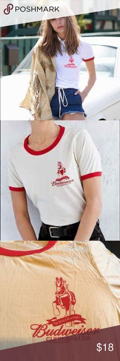 """Urban Outfitters """"Budweiser"""" Tee Off white with classic red trim & red Budweiser graphic t-shirt. By Junk Food, purchased from U.O. Only worn once & in perfect condition, made with 100% cotton. Urban Outfitters Tops Tees - Short Sleeve"""