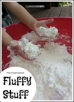 "Play Create Explore: Snowball Fight with Fluffy Stuff. ""Fluffy Stuff"" boxes cornstarch and 1 can shaving cream; color if desired) -- moldable. Sensory Activities, Sensory Play, Activities For Kids, Sensory Bins, Fun Crafts, Crafts For Kids, Do It Yourself Inspiration, Snowball Fight, Sensory Table"