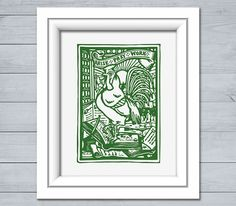 Vintage Rooster Print Arise Pray Work Christmas Easter Housewarming Gift Ideas - No Background Colors