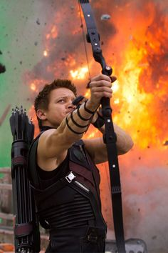 Jeremy Renner as Hawkeye - Behind the scenes of 'The Avengers' set.