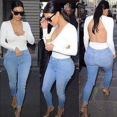 Kim kardashian backless top and jeans Estilo Kardashian, Kim Kardashian And Kanye, Kardashian Style, Kardashian Fashion, Kardashian Photos, Kardashian Jenner, T-shirt Dos Nu, Top Dos Nu, Backless Shirt