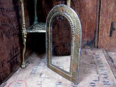 Arch Shaped Mirror, Metal Framed Mirror, Gold Mirror, Vintage Mirror, Wall Mirror, Old Mirror. Moorish Decor, Decorative Mirror, Ornate by MissieMooVintageRoom on Etsy